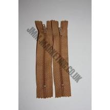 """Nylon Zips 4"""" (10cm)- Light Brown"""