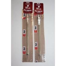 """Metal Zips 4"""" (10cm) - Beige"""