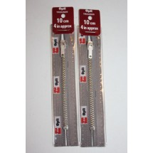 """Metal Zips 4"""" (10cm) - Grey"""
