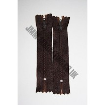 "Nylon Zips 9"" (23cm) - Dark Brown"