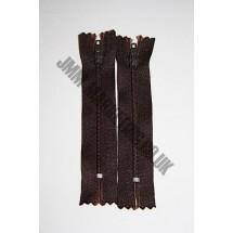 "Nylon Zips 16"" (41cm) - Dark Brown"