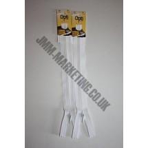 "Optilon Concealed Zips 12"" (30cm) - White"
