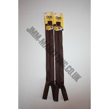 "Optilon Concealed Zips 12"" (30cm) - Brown"