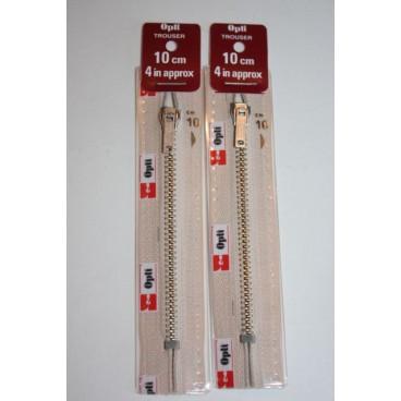 """Metal Zips 5"""" (12cm) - Cream"""