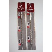 """Metal Zips 6"""" (15cm) - Mid Grey"""