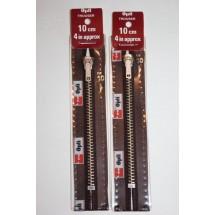 """Metal Zips 10"""" (25cm) - Brown"""