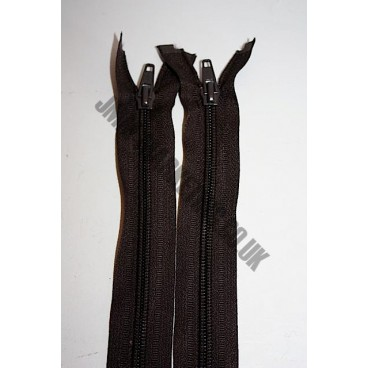 "Open Ended Zips 14"" (36cm) - Brown"