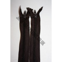 """Open Ended Zips 28"""" (71cm) - Brown"""