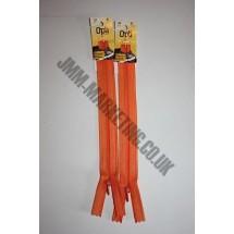 "Optilon Concealed Zips 12"" (30cm) - Orange"