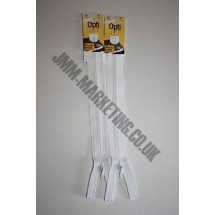 "Optilon Concealed Zips 8"" (20cm) - White"